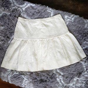 J. Crew   6 cream Jacquard drop waist skirt